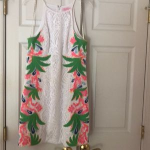 Lilly Pulitzer white lace pearl shift size 8